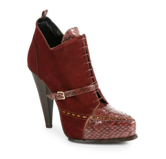 Derek Lam Donya Snakeskin & Suede Lace-Up Ankle Boots