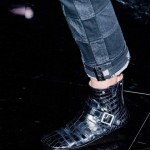 Louis Vuitton black-croc-flat-boot Paris Fashion Week SS 2014