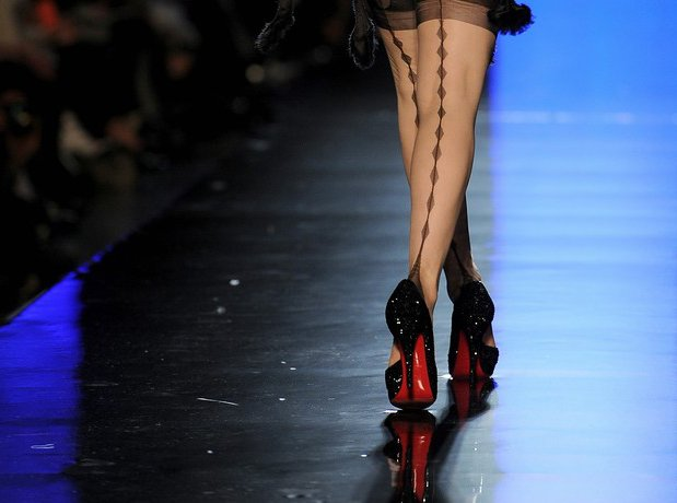 Dita Von Teese Hits Runway for Jean Paul Gaultier In Louboutin Shoes