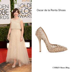 zooey-deschanel-golden-globes-2014-red-carpet-Oscar-de-la-Renta-shoes
