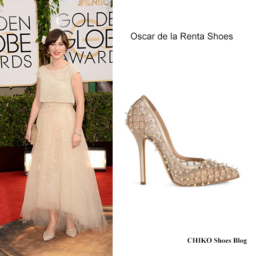 zooey-deschanel-golden-globes-2014-red-carpet-Oscar-de-la-Renta-shoes