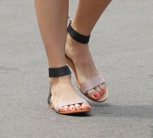 emmy-rossum-flat-strap-sandals-close-view