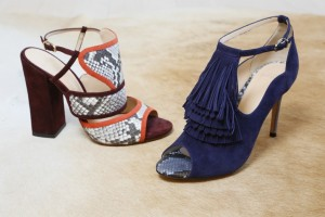 Alexandre Birman had a Seventies mood and its rich colors in mind when he paired his signature python with color-blocked suedes and chunky heels and a fringe detail.