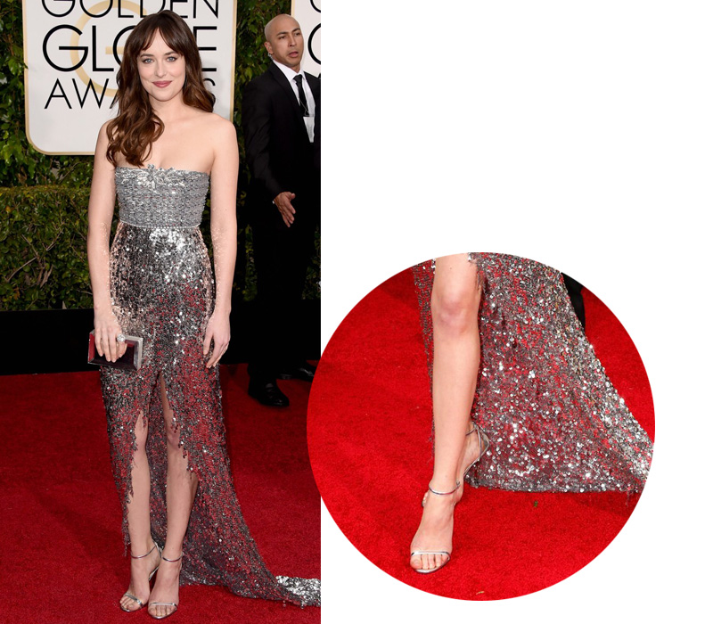 dakota-johnson-at-golden-globes-2015-in-jimmy-choo-sandals