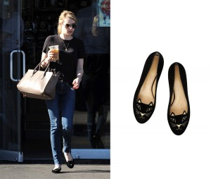 Emma Roberts spotted in cute cat flats