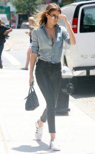 Gigi Hadid in white sneakers