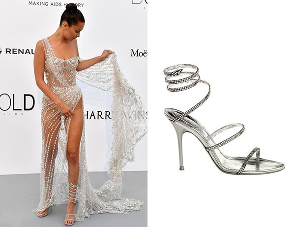 Bella Hadid Leg Wrap Sandals In Cannes