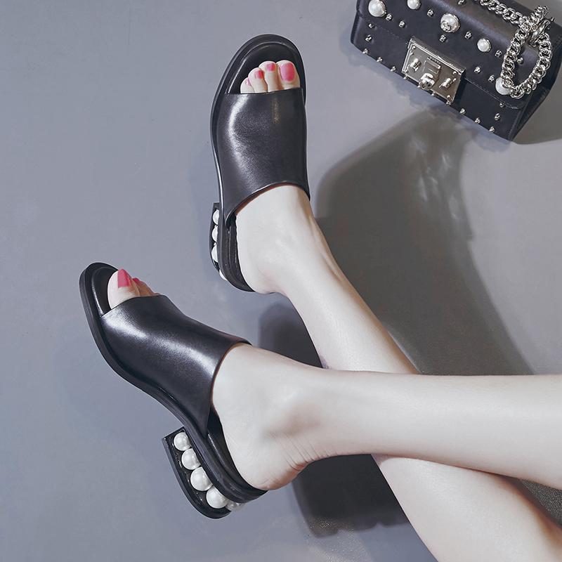 Chiko Marya Pearl Block Heel Sandal Slides