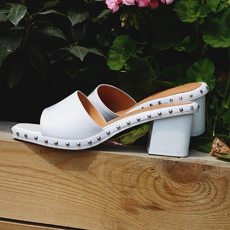 Chiko Querima Studded Block Heel Sandal Mules