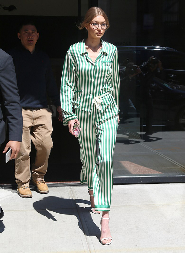Gigi Hadid Street Styles In White Boots And Pajamas