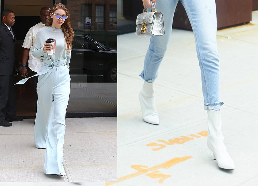 Gigi Hadid Street Style With White Ankle Boots And Blue Shades
