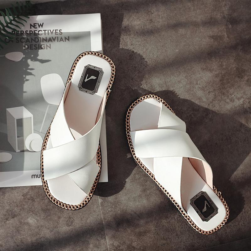 Chiko Kahla Crossover Chain Decorated Sandal Slides