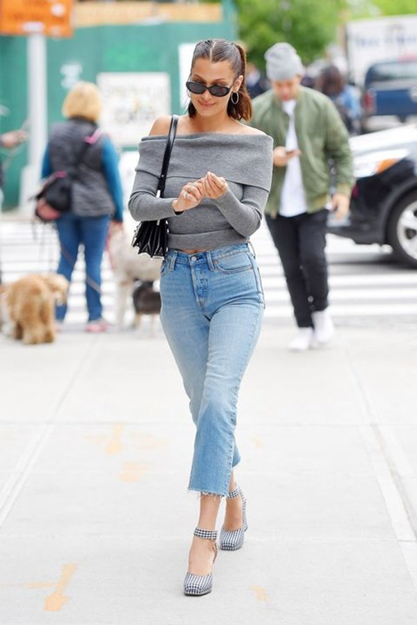 Bella Hadid Street Style In Plaid