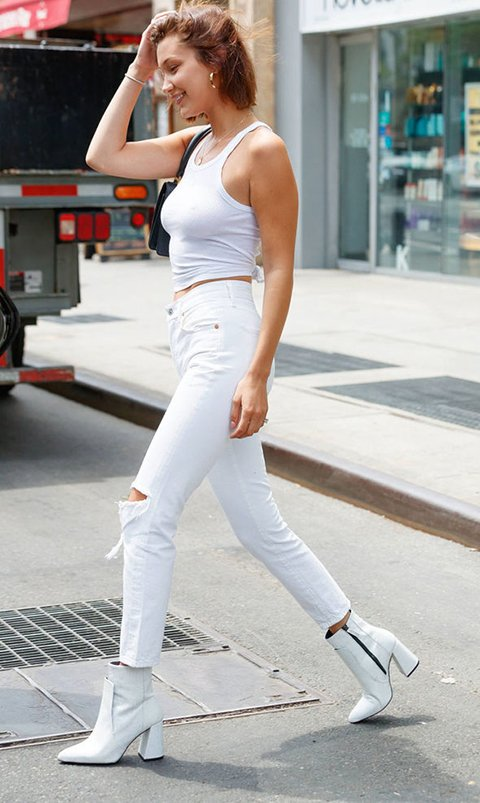 Bella Hadid Street Style In White