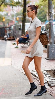 Bella Hadid zipper ankle boots