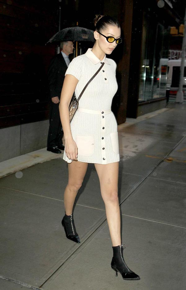 Bella Hadid zipper ankle boots