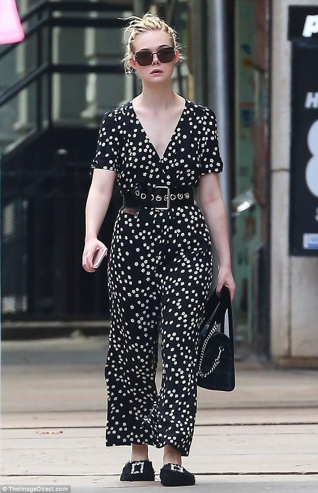 Ella Fanning | Embellished fur slipper shoe trend fall 2017