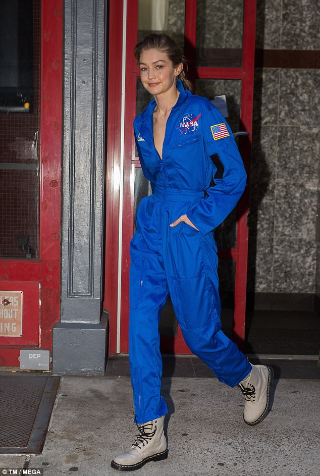 Gigi Hadid NASA space suit combat boots street style