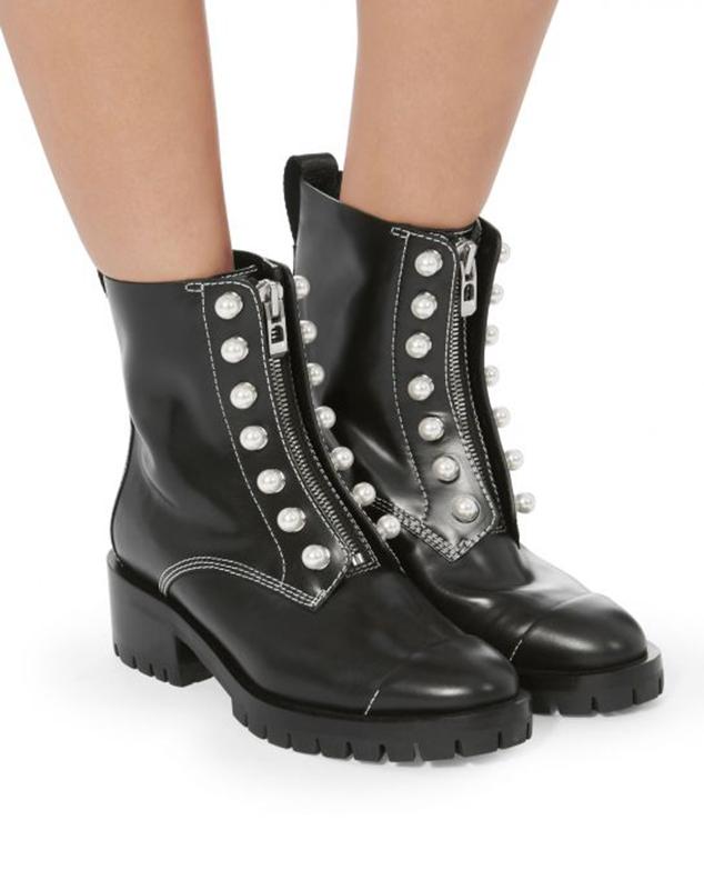 Gigi Hadid zipper pearl combat boots style