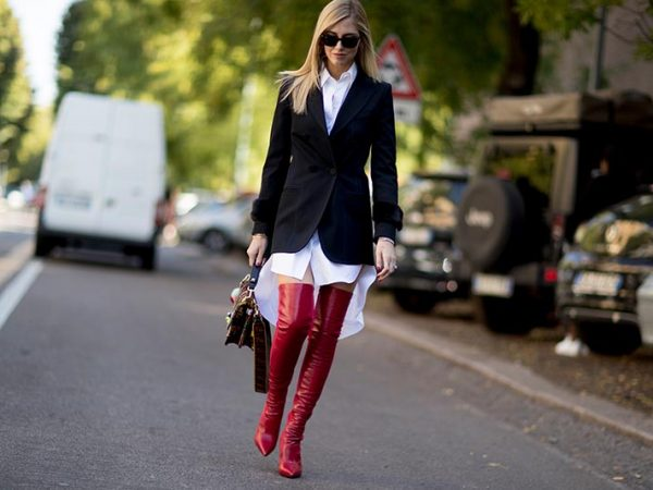Red boots trend street styles
