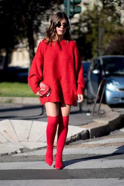 Red boots trend fashion week spring 2018