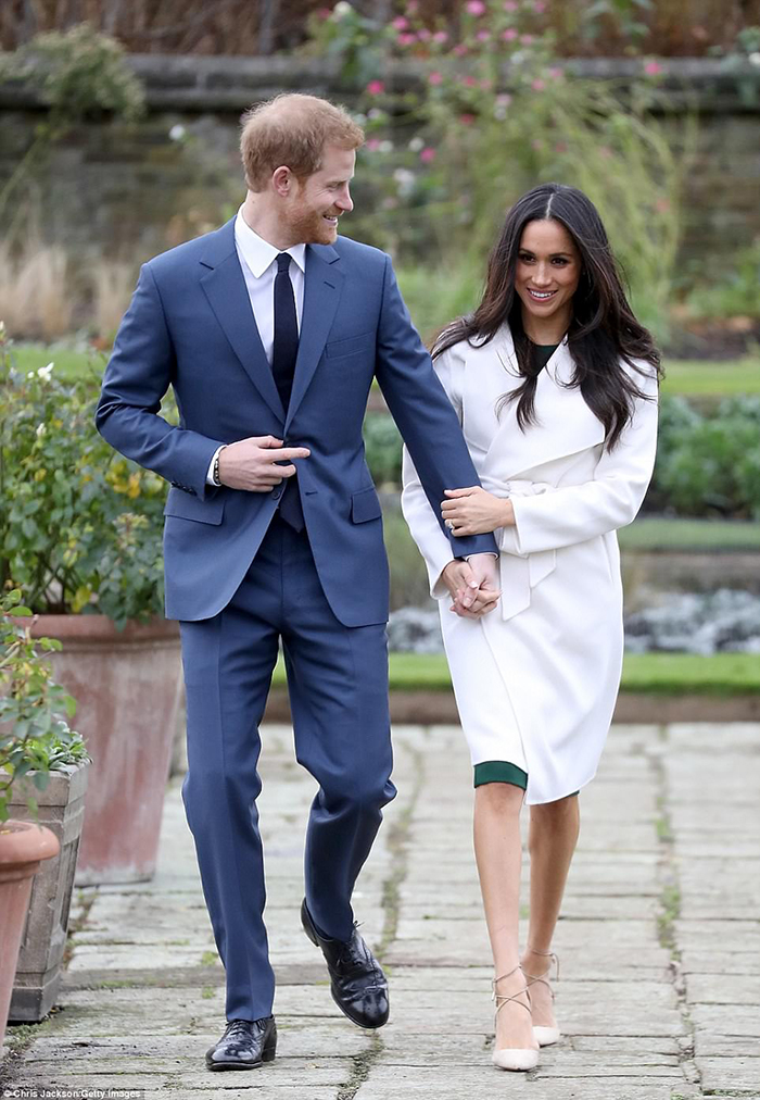 Meghan Markle Engagement Style With White Coat And Stiletto