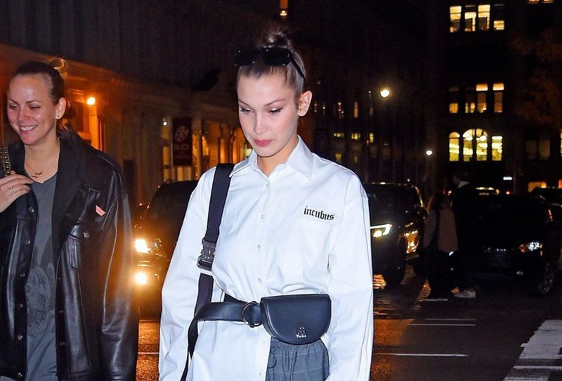 Bella Hadid combat boots plaid pants style