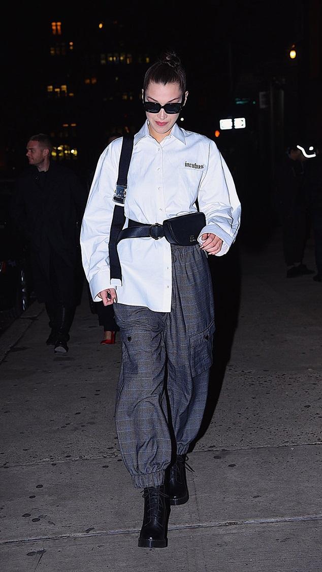 Bella Hadid combat boots plaid pants style