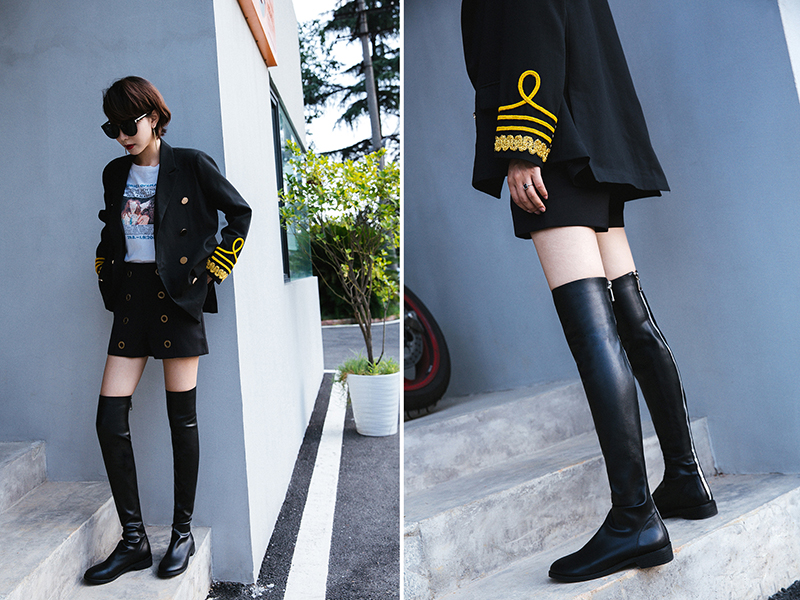 CHIKO TEKIA BACK ZIPPER OVER KNEE HIGH BOOTS