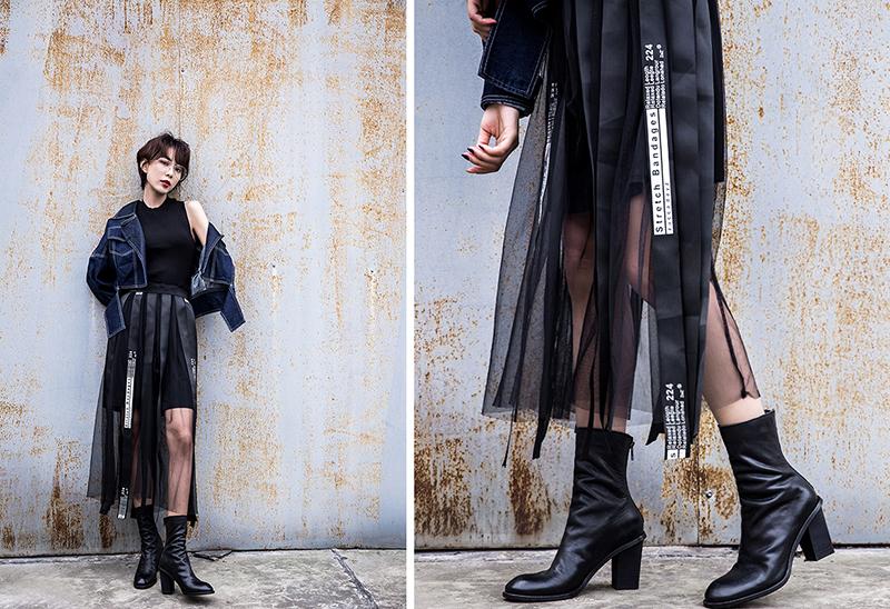 CHIKO SHULA BLOCK HEEL SOCK ANKLE BOOTS