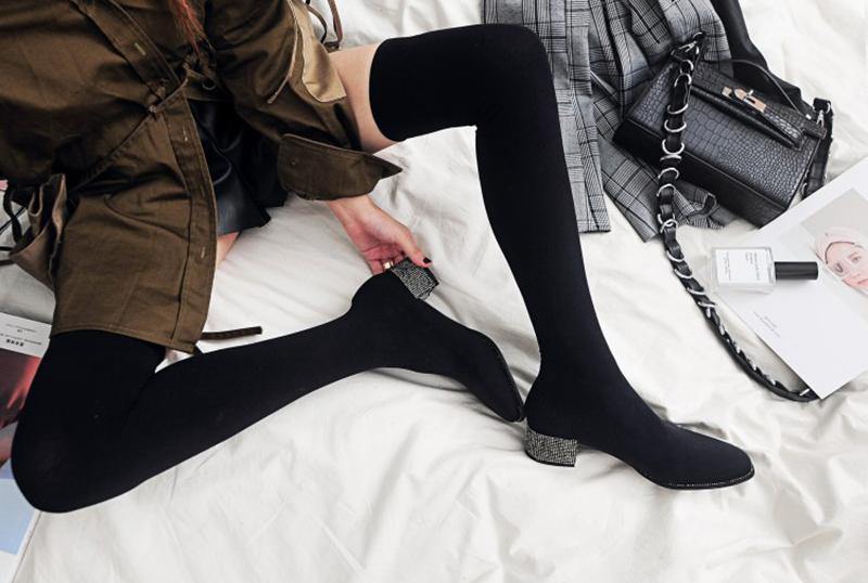 Chiko Zakiya Glitter Heel Thigh High Sock Boots