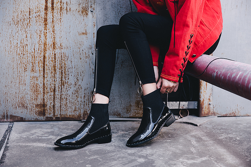 CHIKO SHAQUILE STUDDED CHELSEA ANKLE BOOTS
