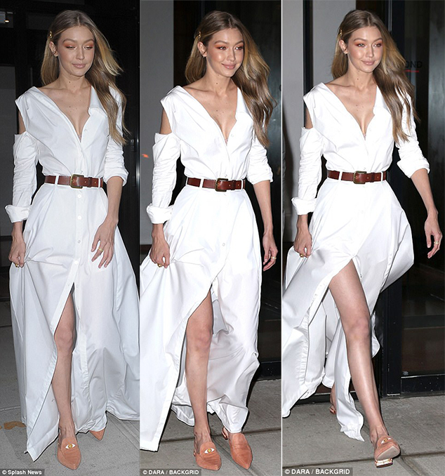 Gigi Hadid Mismatched Shoes