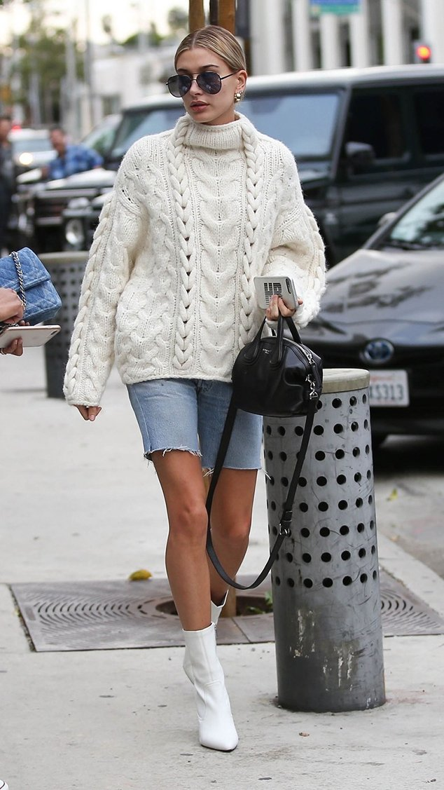 Hailey Baldwin White Ankle Boots