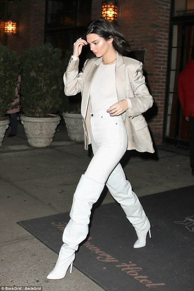 Kendall Jenner white thigh high boots style