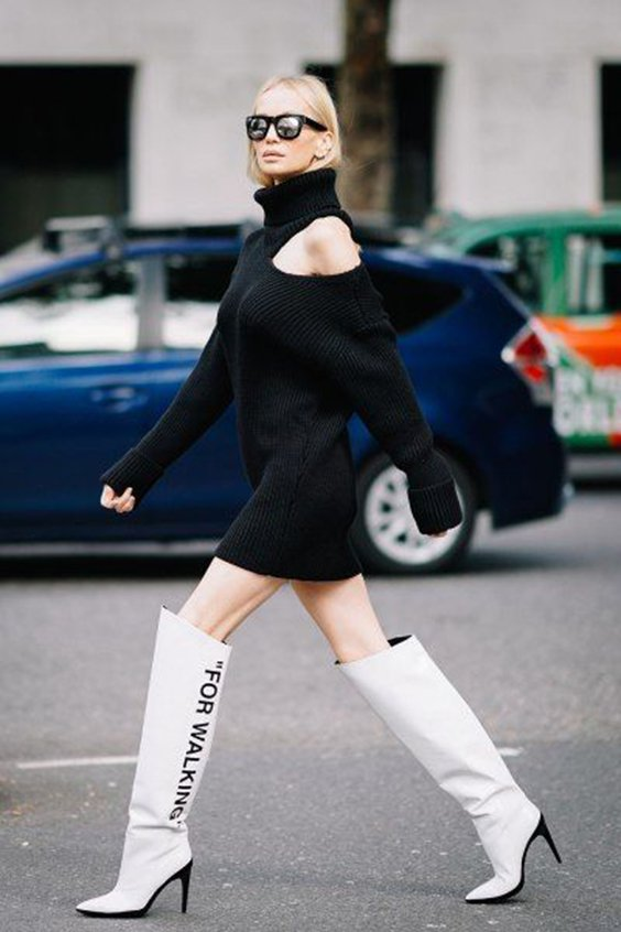 43e6837f64d Kendall Jenner white thigh high boots style