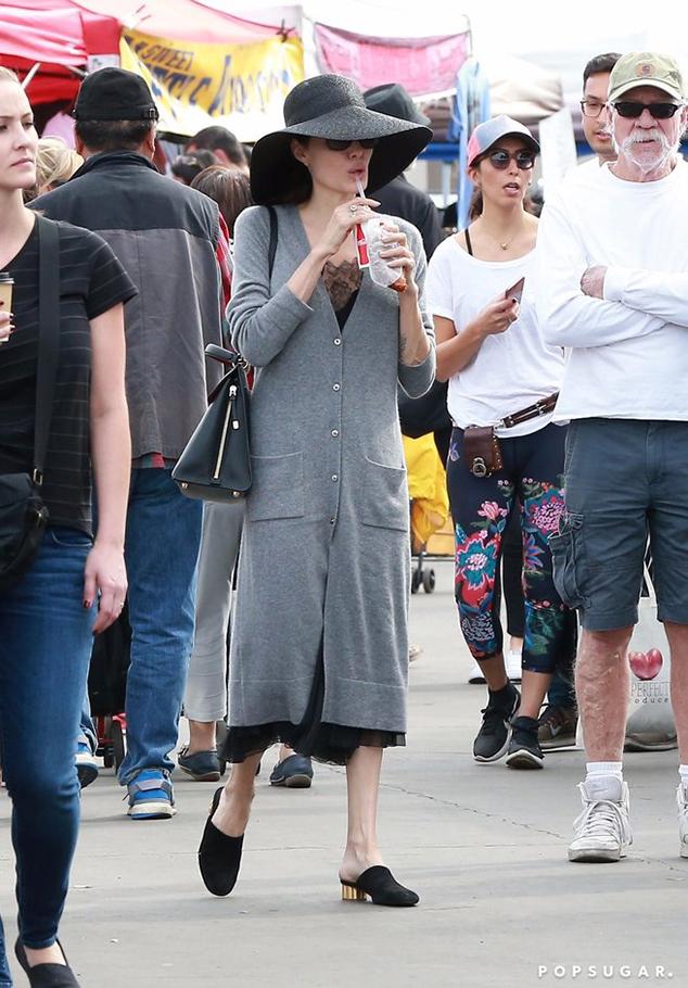 Angelina Jolie Golden Heel Mules Style