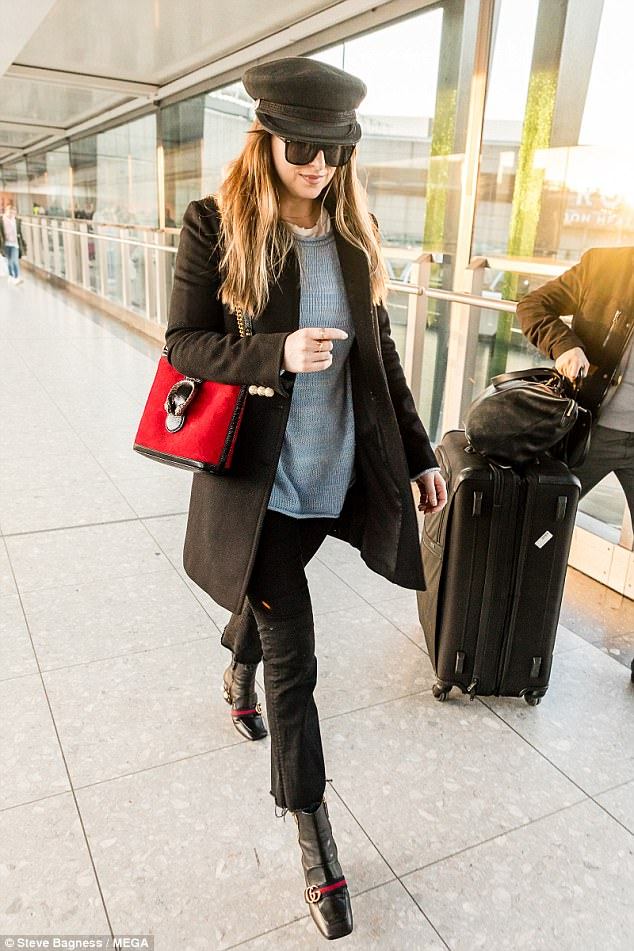 451c2be5b86 Dakota Johnson Pearl Studded Ankle Boots Airport Style