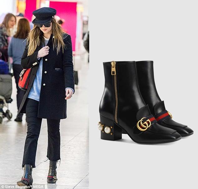 Dakota Johnson Pearl Studded Ankle Boots