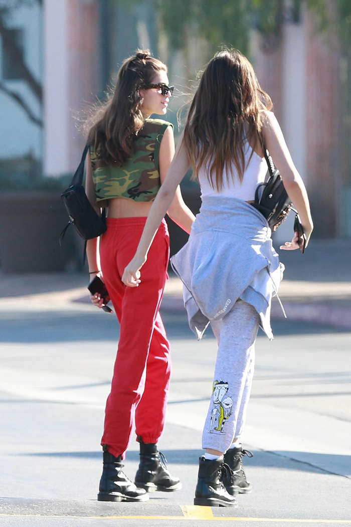 Kaia Gerber combat boots athleisure style
