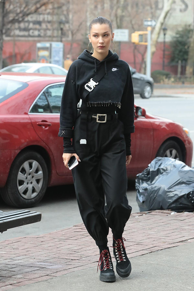 Bella Hadid athleisure combat boots style