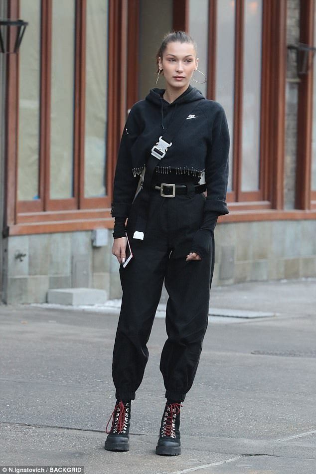 Bella Hadid athleisure combat boots style