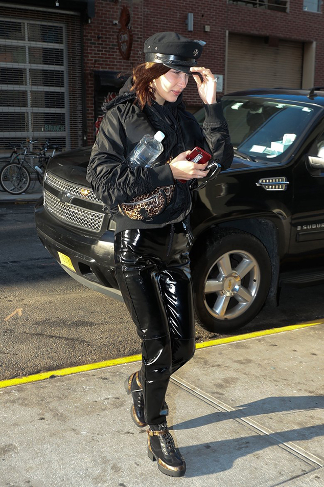 Bella Hadid combat ankle boots style