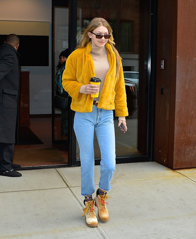 Gigi Hadid work ankle boots style