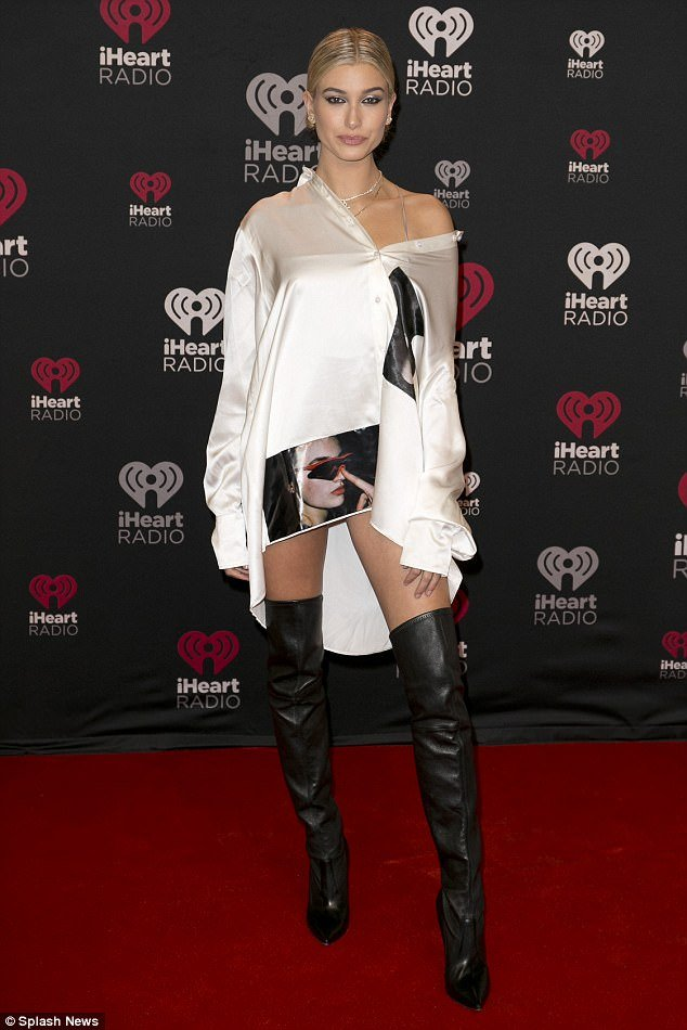 Hailey Baldwin thigh high boots style
