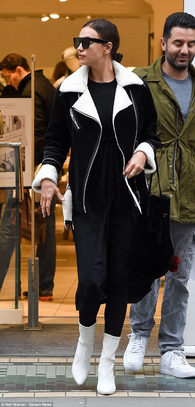 Irina Shayk white ankle boots style
