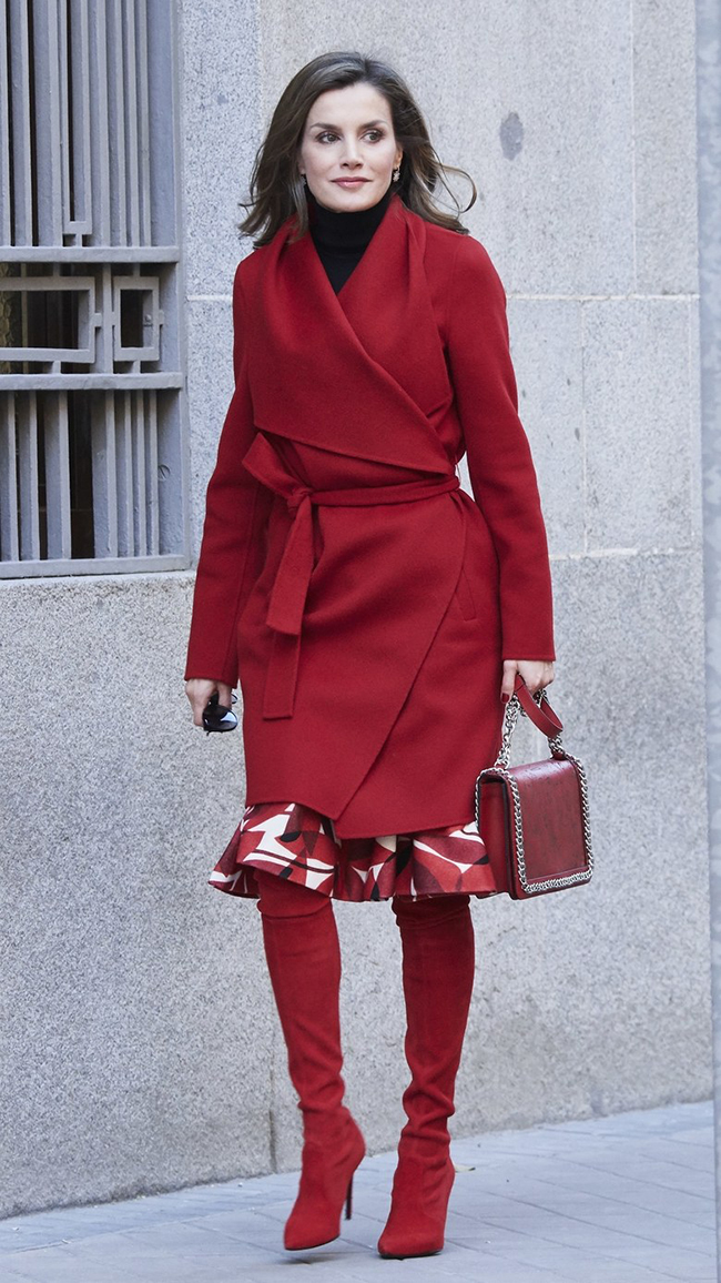Queen Letizia Spain red boots style