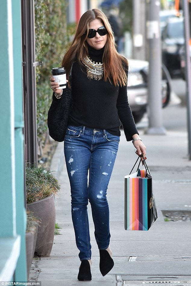 Selma Blair mules shoe style in winter
