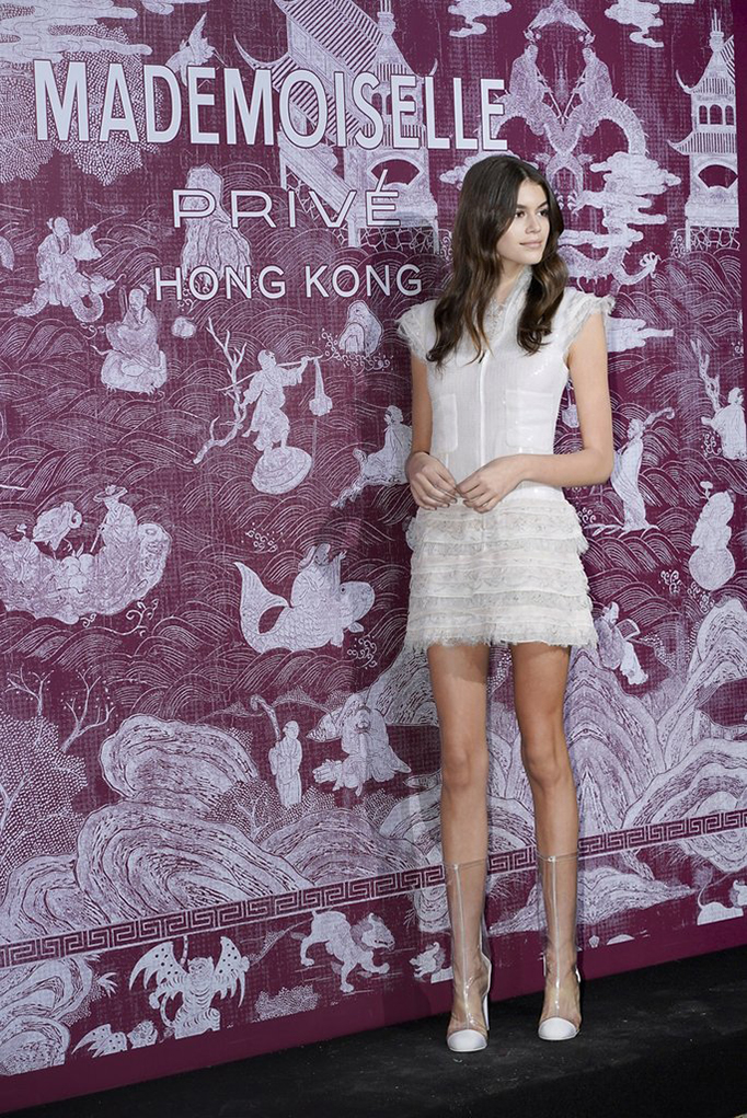 Kaia Gerber clear PVC shoes style