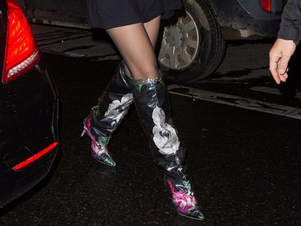 Bella Hadid plastic shoes street style
